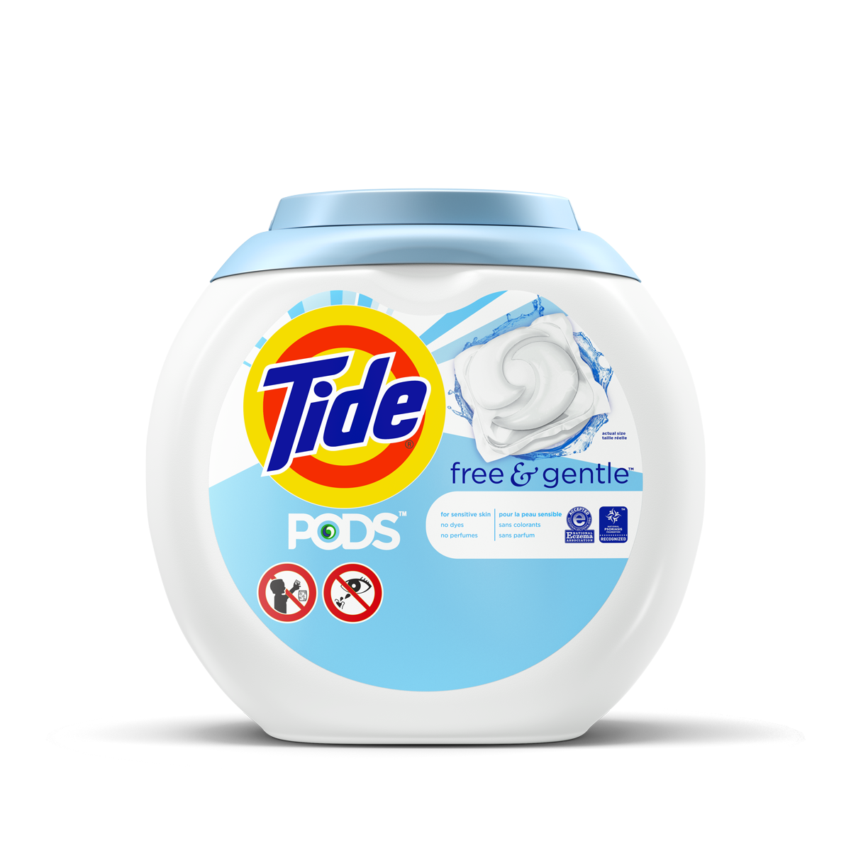 Tide PODS Free and Gentle Laundry Detergent comes in a circular, white, plastic tub, with a light blue label and cap.