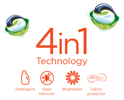 4 in 1 technology: detergent, stain remover, brightener, fabric protector
