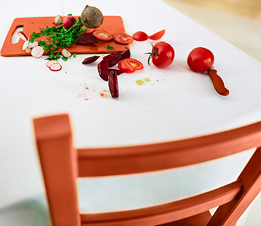 Tomato stains on a white table