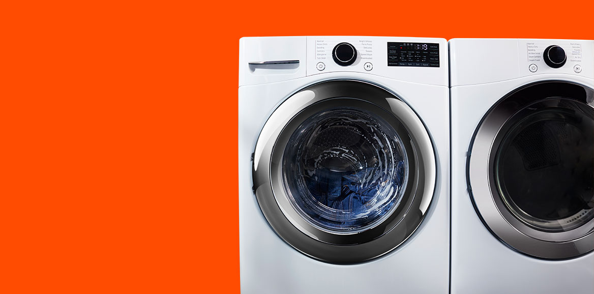 Washing machine in operation