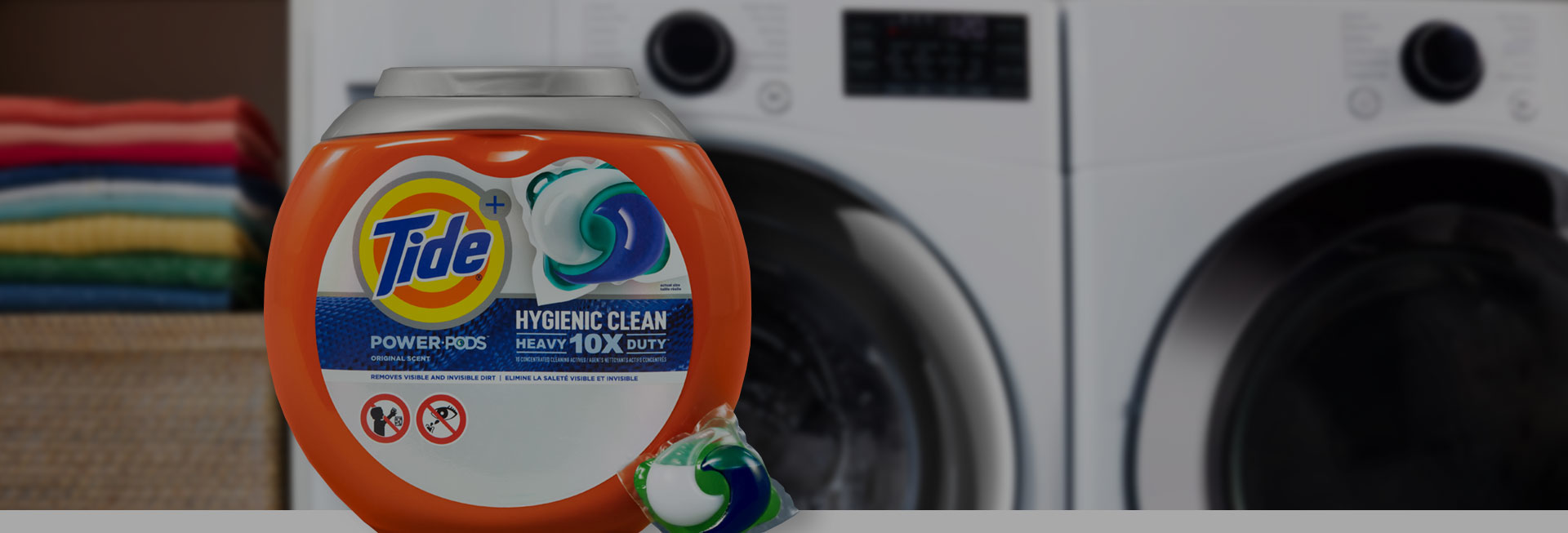 Tide Hygienic Clean Heavy Duty 10x Power PODS in fron of a washer