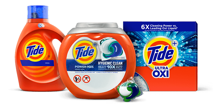 Tide PODS, liquid and powder products