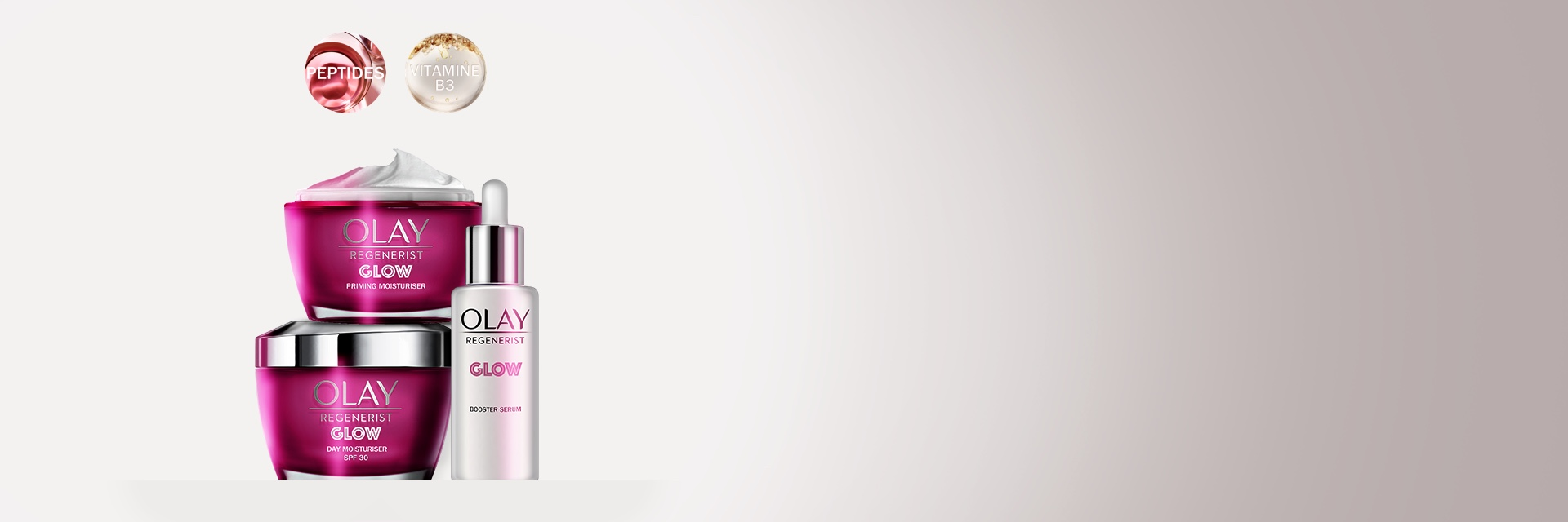Olay Collections page - Glow banner