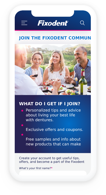 """A banner featuring a screenshot of a phone with a group of people dining outdoors with the text """"join the Fixodent Club""""."""