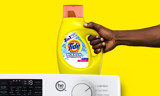 Tide Simply Plus Bleach Alternative Liquid Laundry Detergent works in all machines and cold water.