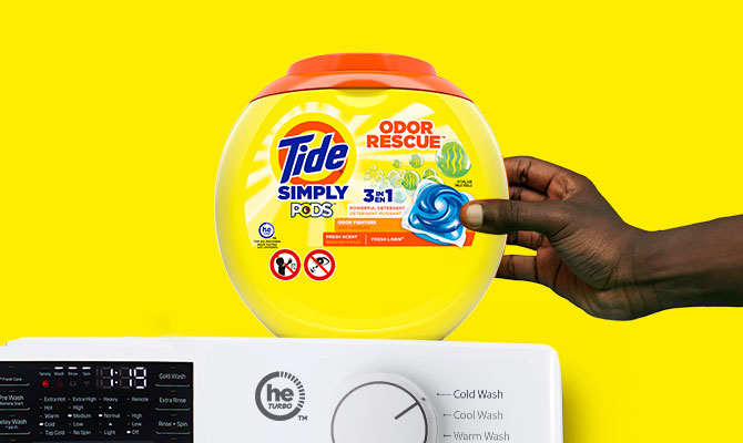 Tide Simply PODS® Odor Rescue Liquid Laundry Detergent Pacs works in cold water