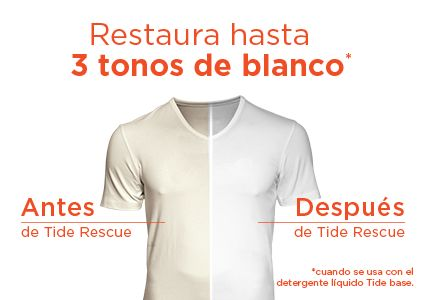 A white t-shirt before and after Tide rescue