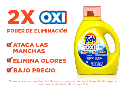 Tide Simply OXI Liquid Laundry Detergent with twice the Oxi fighting power* fights stains and odors and is available at a low price. *Stain removal of 1 dose vs. 2 doses of the leading detergent with baking soda and Oxi.