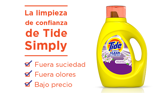 The trusted clean of Tide Simply: dirt out, odors out, low price.