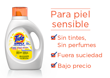 Tide Simply Free & Sensitive Liquid Laundry Detergent - for sensitive skin: no dyes or perfumes, dirt out, low price.