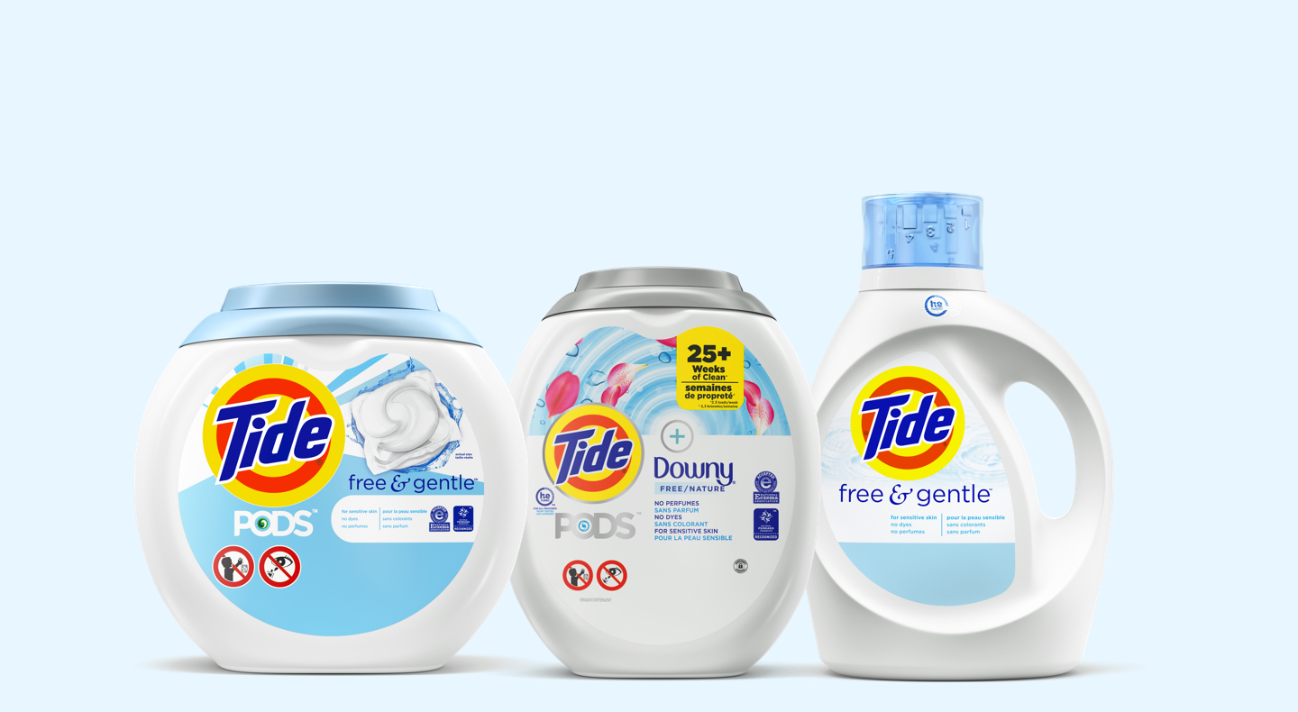 Tide Free & Gentle Collection Dermatologist recommended from America's #1*. *Nielsen Laundry Detergent Category - Total x AOC- volume sales 52 w/e 01/11/2020