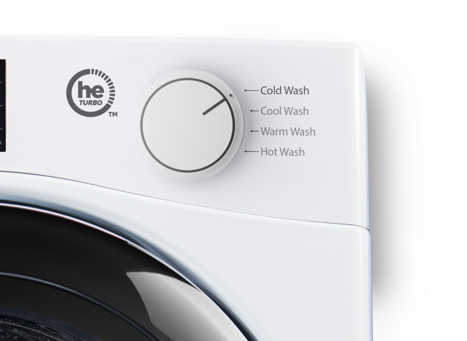 A washing machine is set for cold wash as Tide PODS work in all water conditions