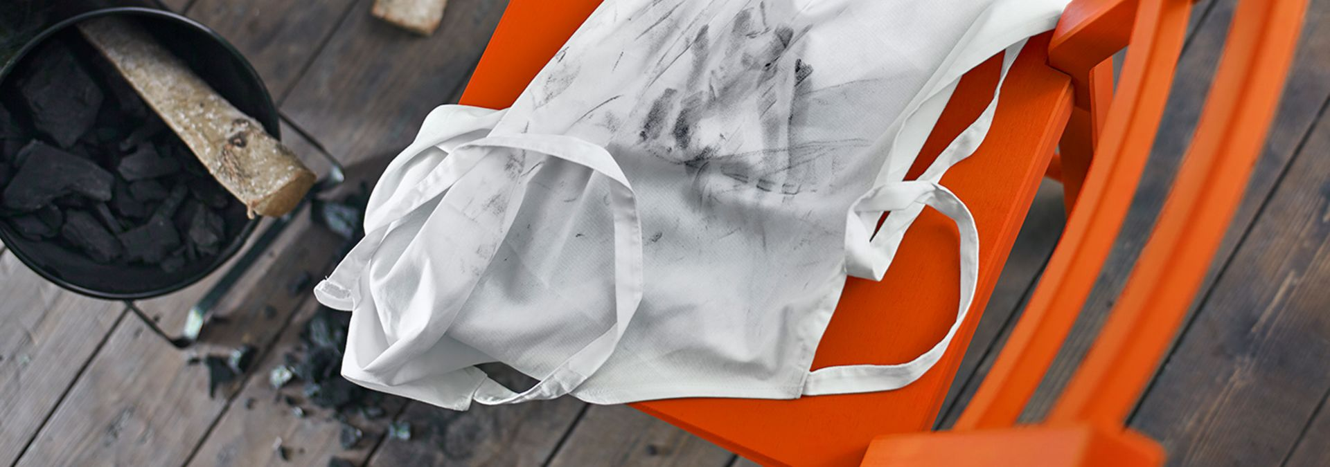 Soot stains on a white apron