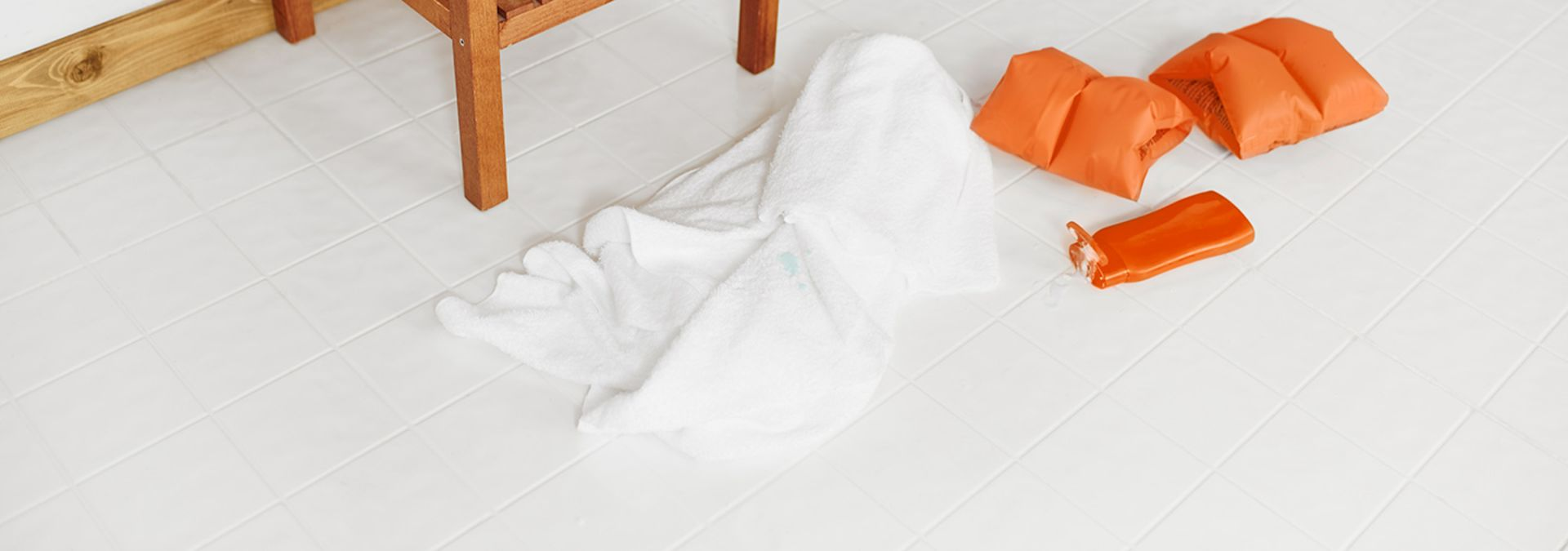 Sunscreen stains on a white towel