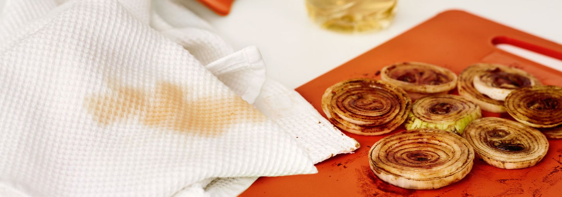 Oil-stained kitchen towel
