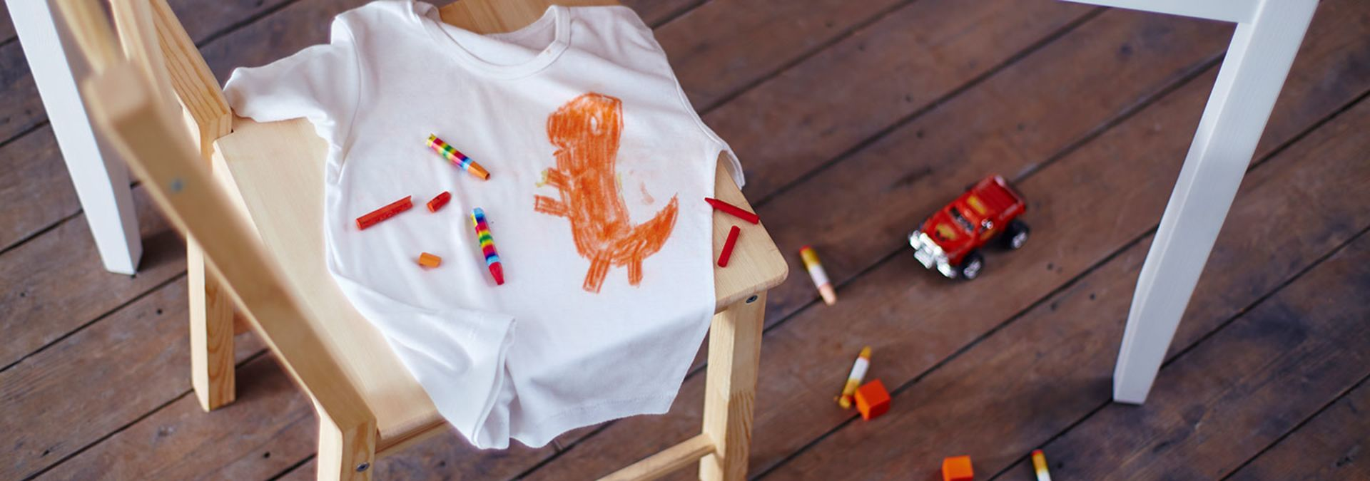 Crayon drawing on white t-shirt