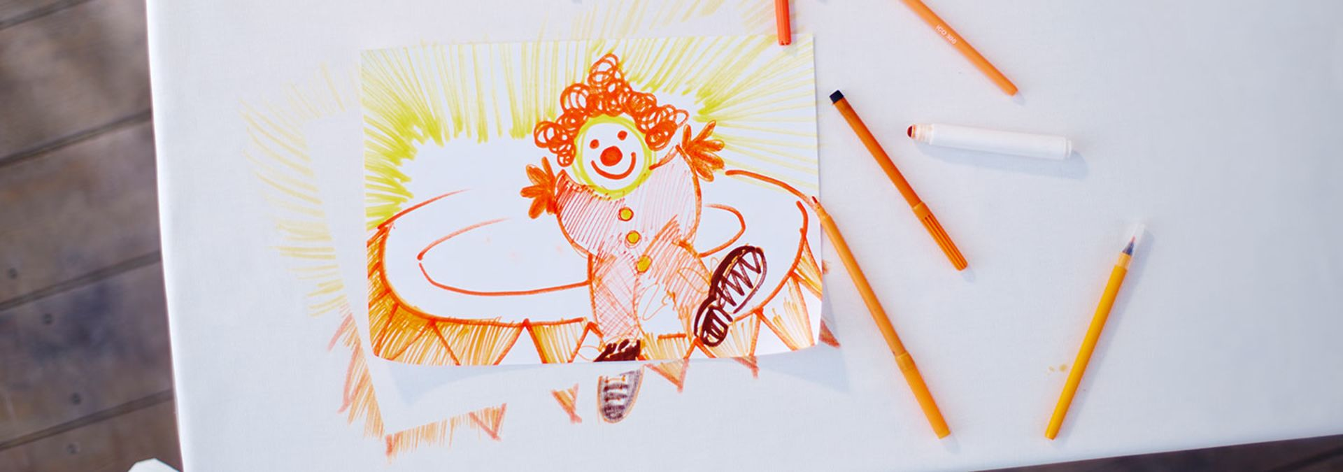 Colorful drawing on the table