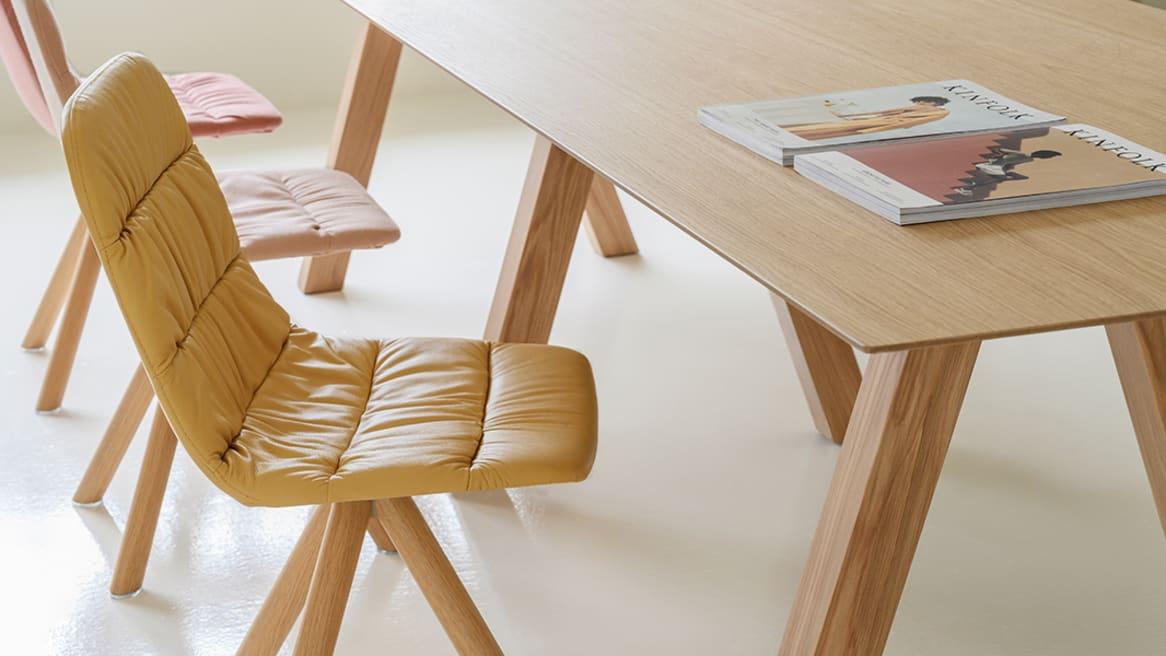 Maarten Upholstered Chair Wood Swivel Base