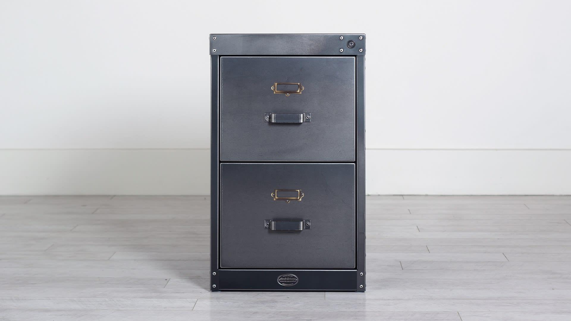 Steel Vintage workshop filing cabinet 2 drawer