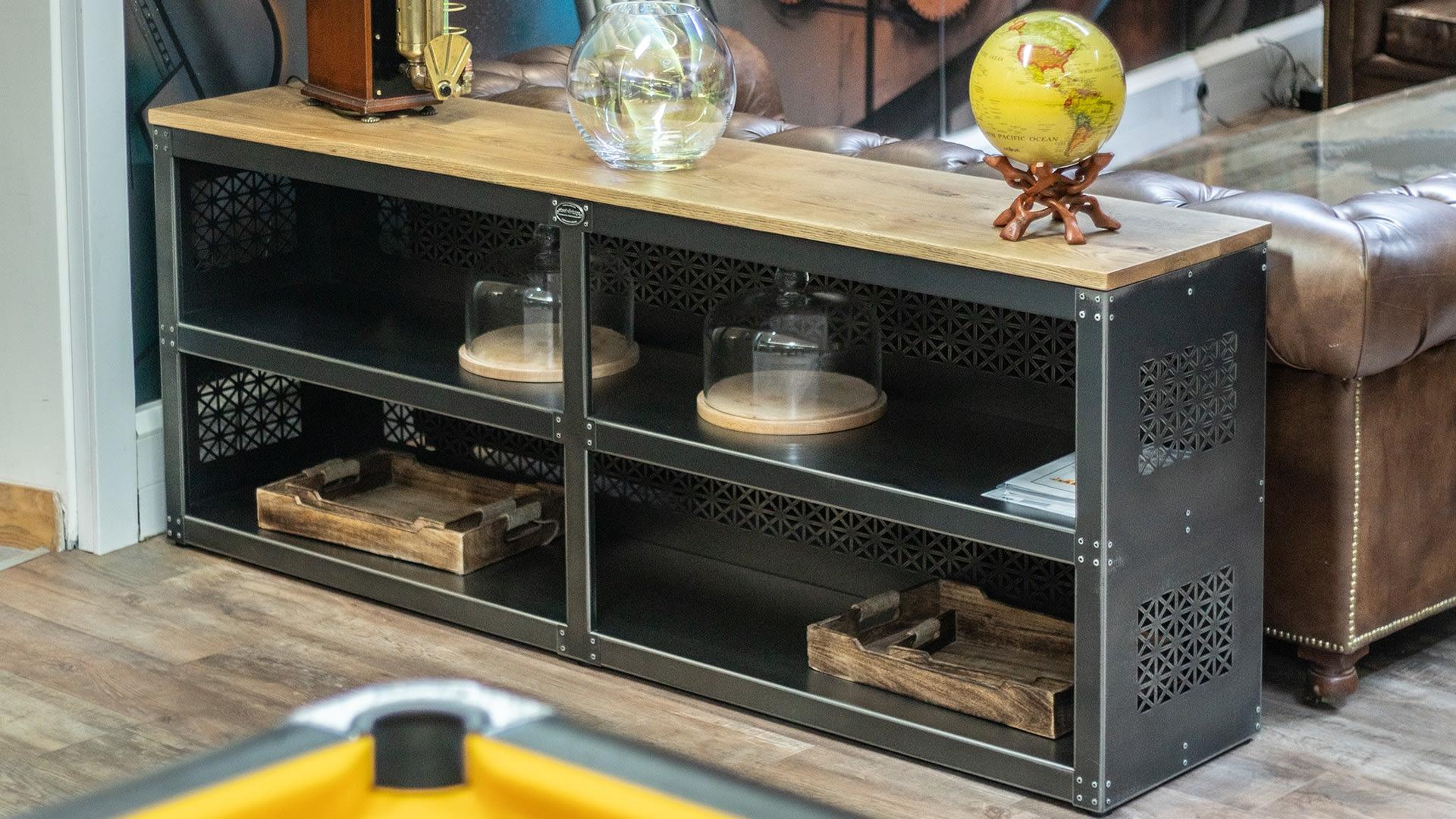 Steel Vintage Lattice sideboard in situ Focus on Design