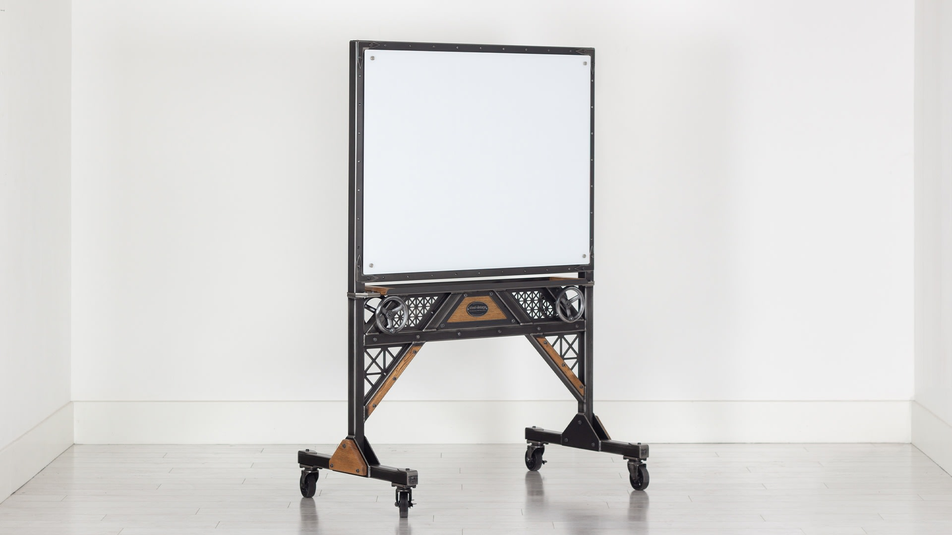 Steel Vintage steampunk glass board trolley