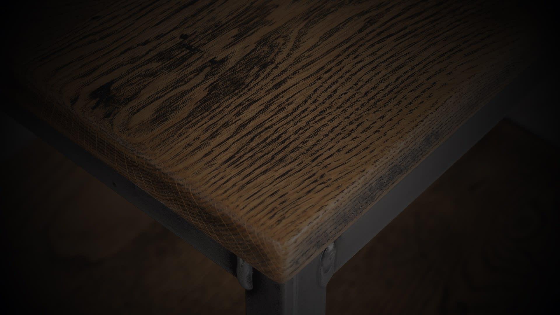 SV warehouse side table closeup darkened
