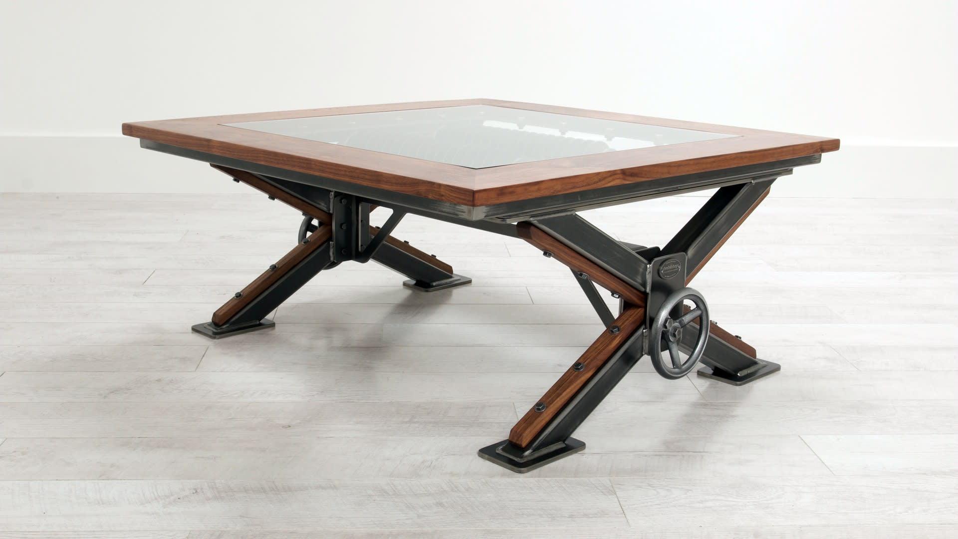 Steel Vintage steampunk coffee table in showroom