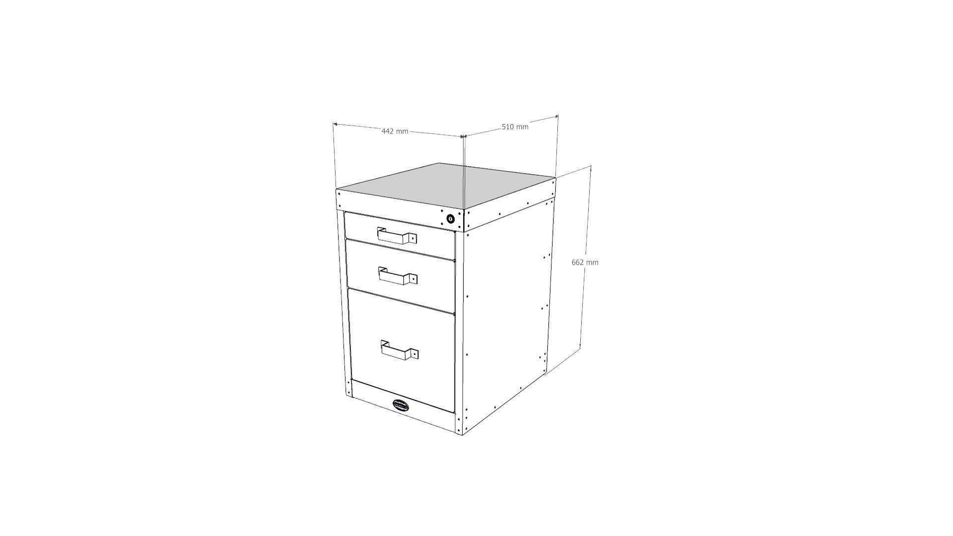 Steel Vintage workshop 3 drawer unit V2 technical drawing