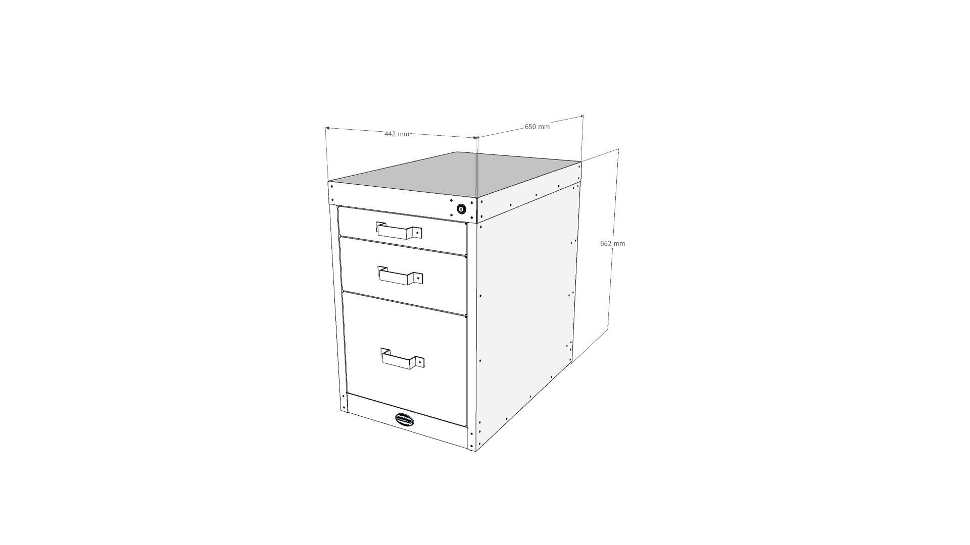 Steel Vintage workshop 3 drawer unit V1 technical drawing