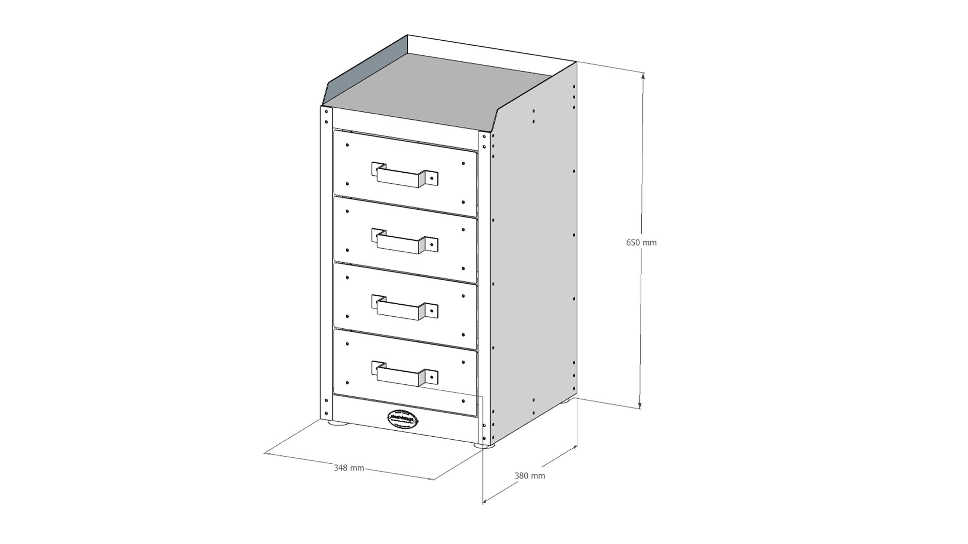 Steel Vintage drawer unit technical drawing