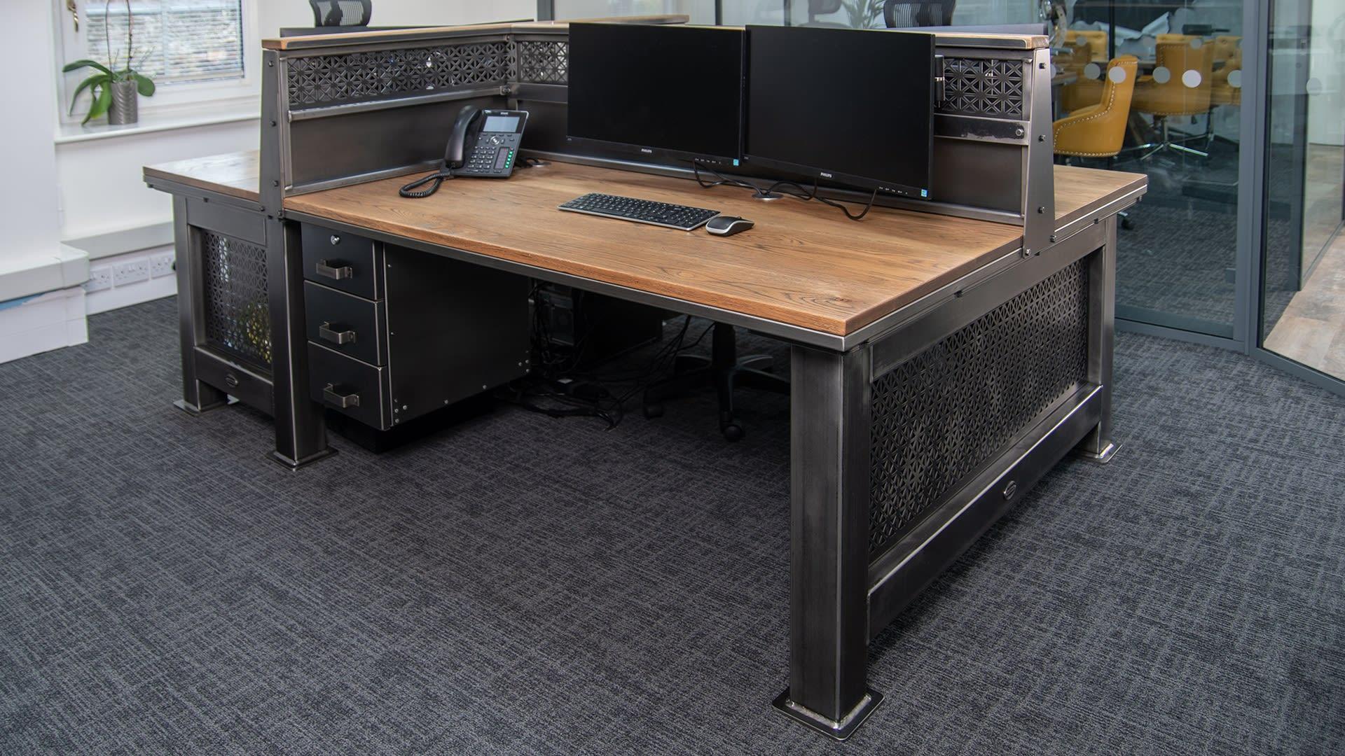 Steel Vintage Grand Artisan 3 person desk in situ Focus on Design