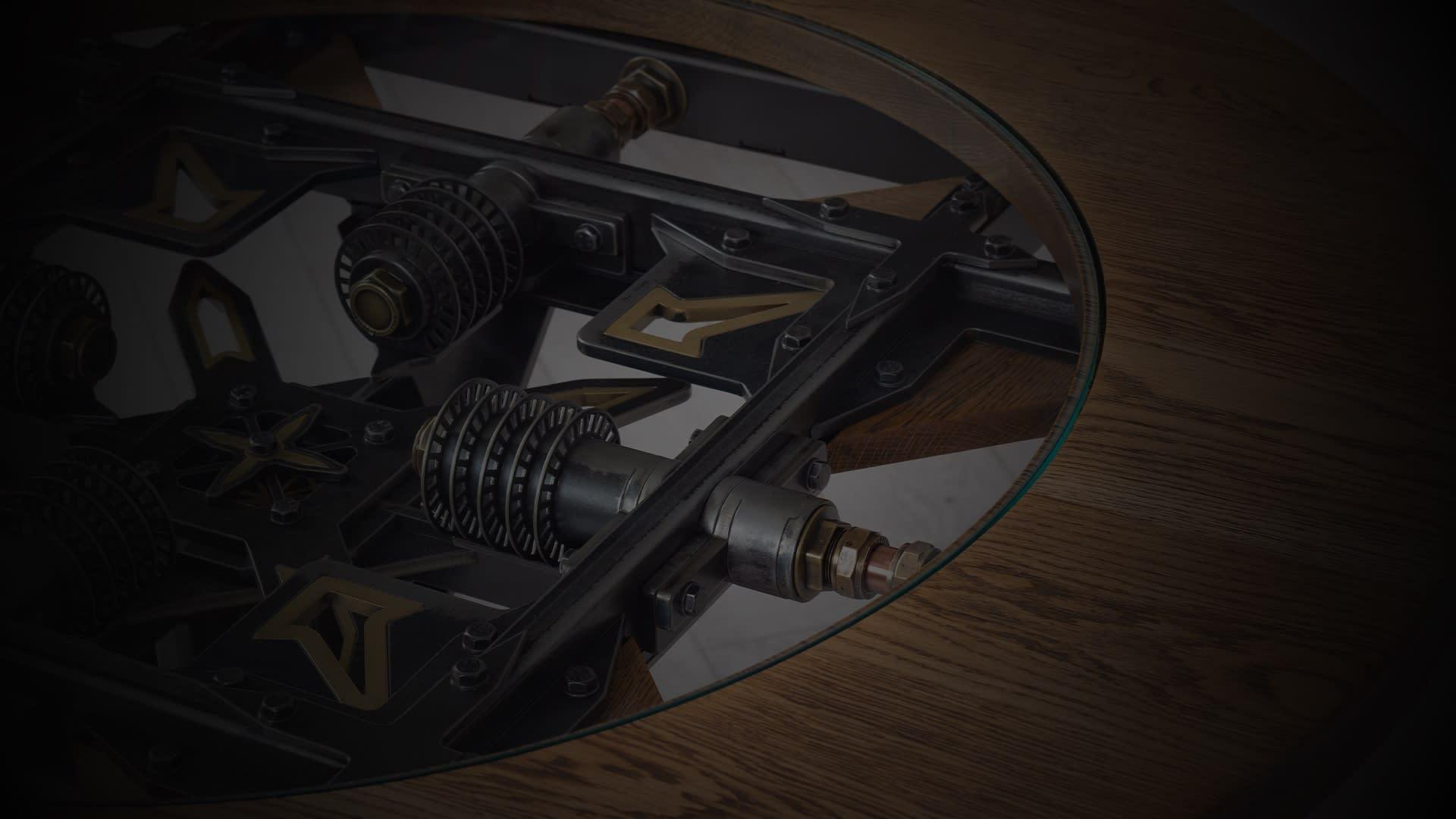 SV steampunk round table closeup darkened