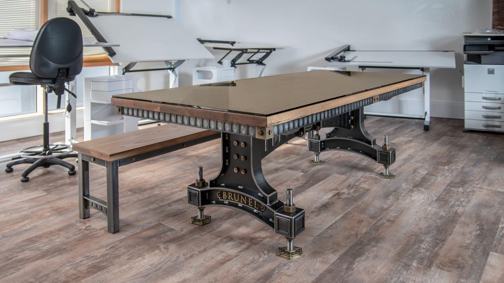 Steel Vintage Brunel table in situ Focus on Design