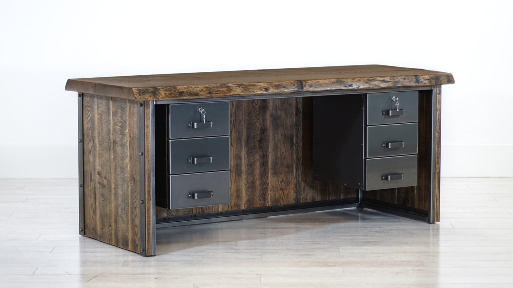 Steel Vintage oak desk with built in drawers