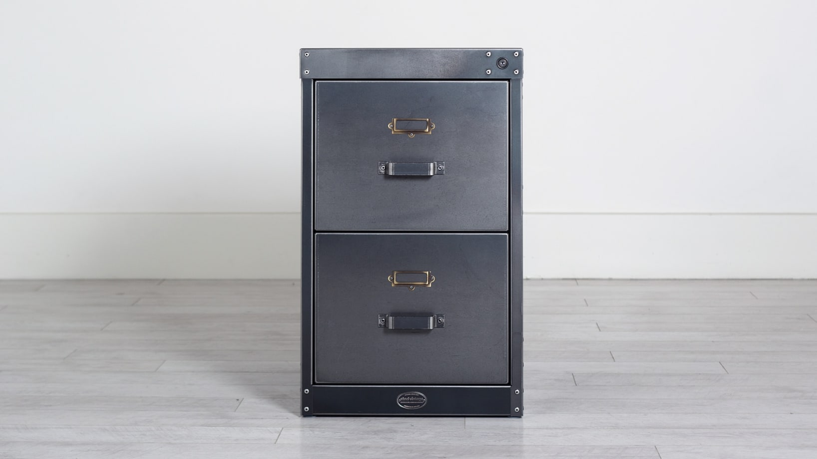 Steel Vintage workshop filing cabinet 2 drawer
