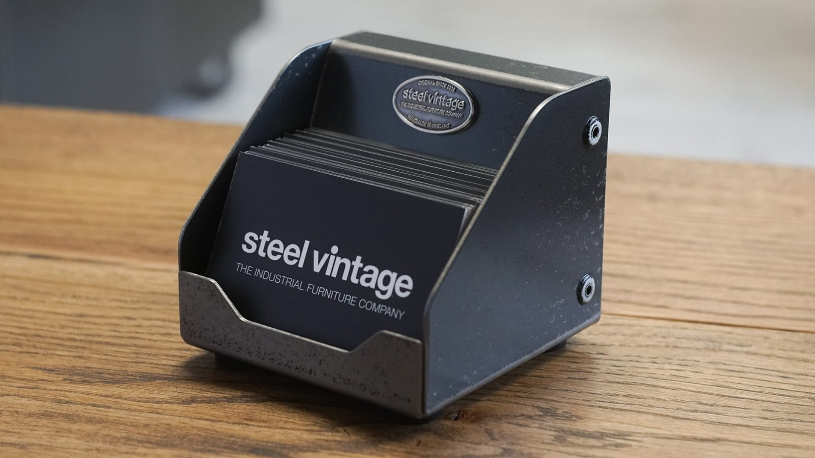 Steel Vintage business card stand