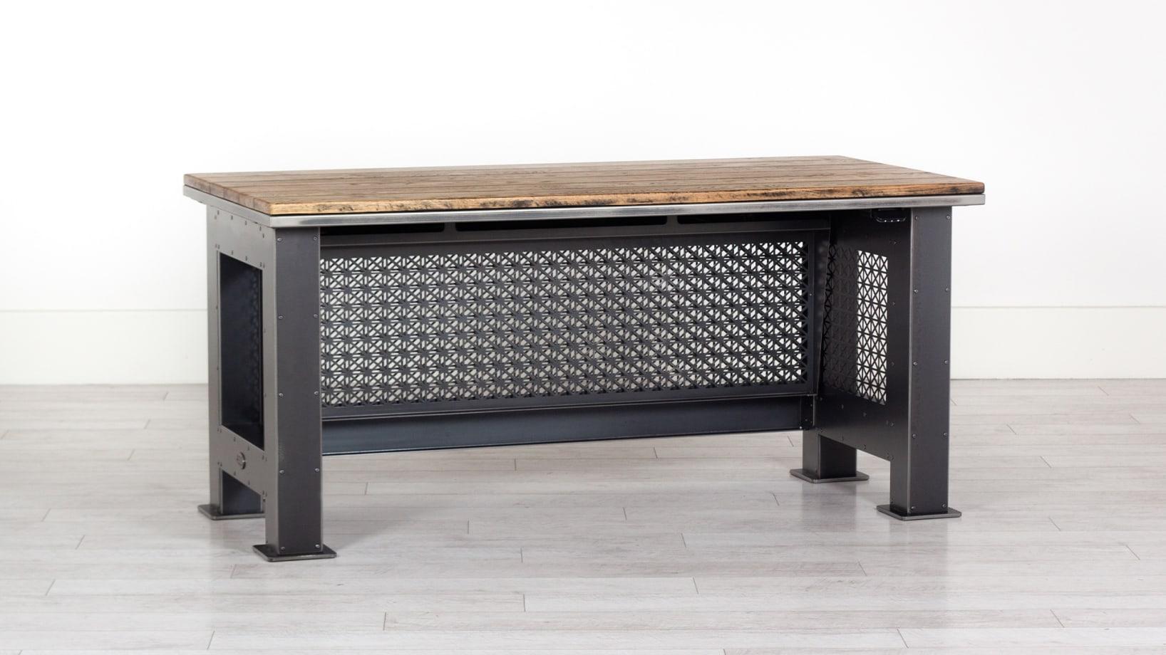 Steel Vintage grand artisan height adjustable desk at normal height