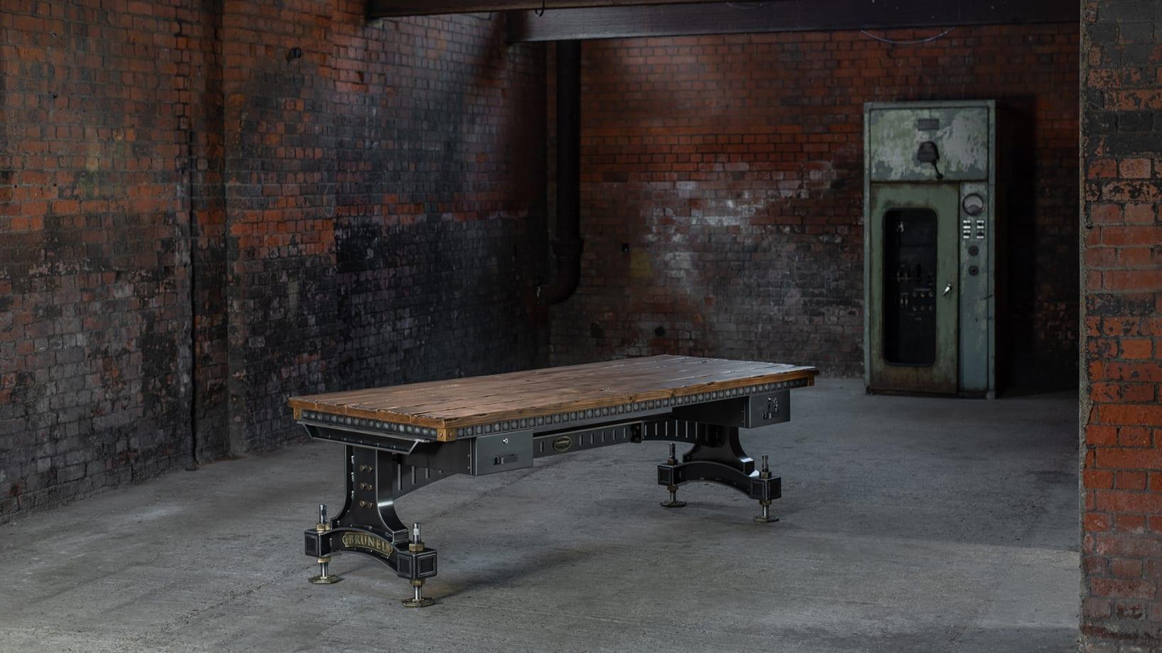 Steel Vintage Brunel desk in Hydraulic Power Station, London