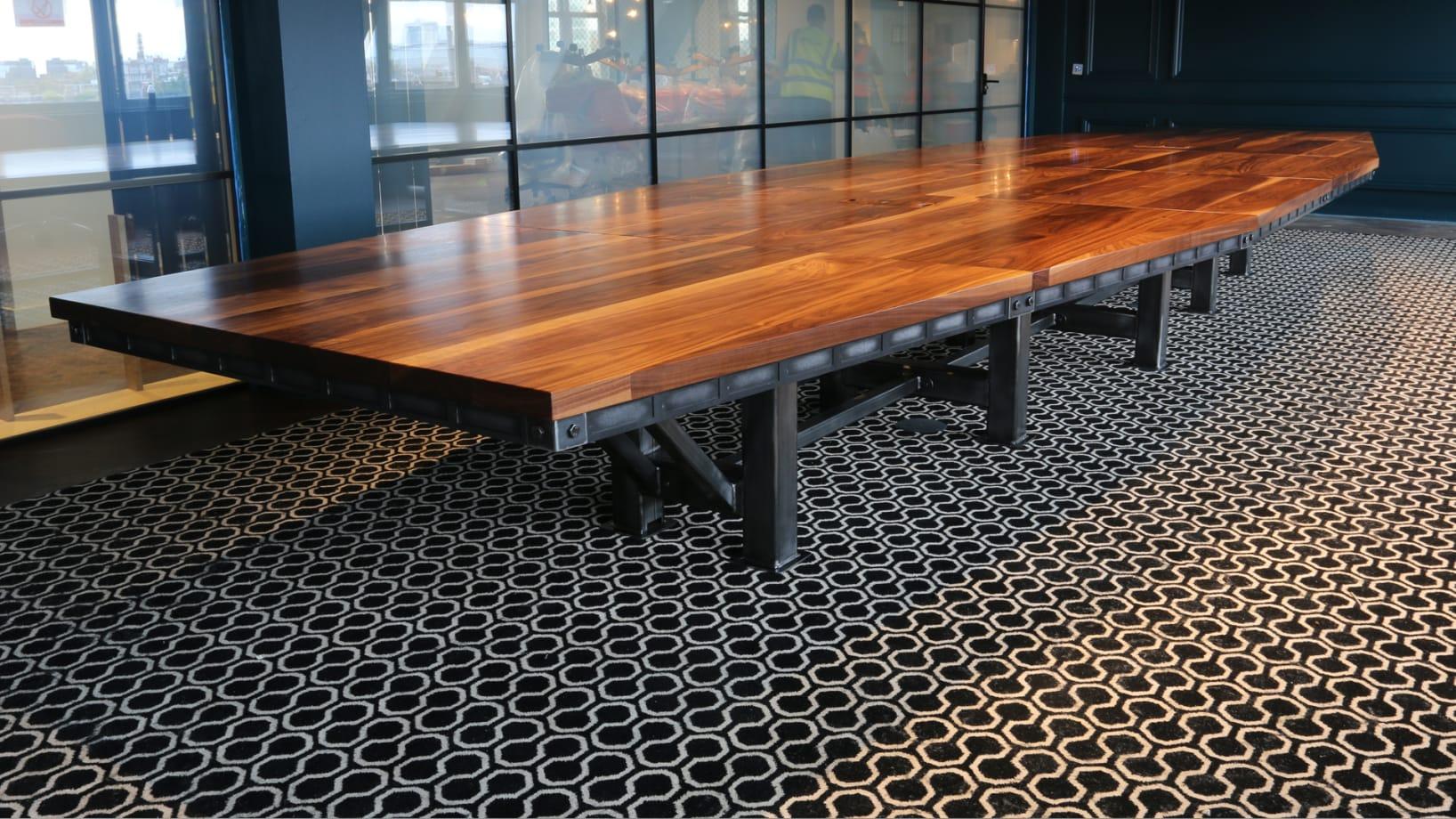 Steel Vintage   Case Study - Endemol Shine   Industrial Walnut Boardroom Table