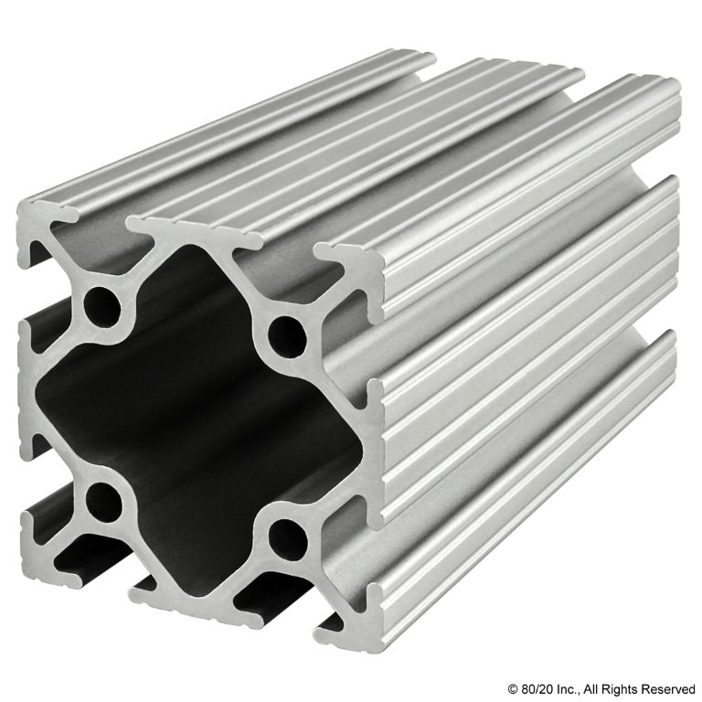 "2.00"" X 2.00"" T-Slotted Profile - Eight Open T-Slots #2020"
