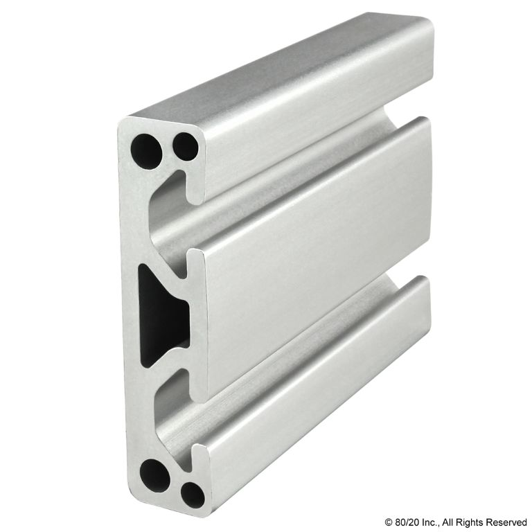 "3.00"" X .75"" Smooth Surface T-Slotted Profile - Two Adjacent Open T-Slots #3075"