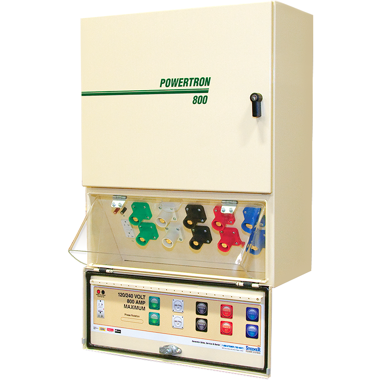 POWERTRON TBQC800-3PH208V QUICK CONNECT GENERATOR DOCKING STATION 800AMP (640 AMPS CONTINUOUS LOAD) 208V 3PH NEMA 3R STEEL Series 800 is not a UL listed product. All Components of the Series 800 are recognized by Underwriters Laboratory