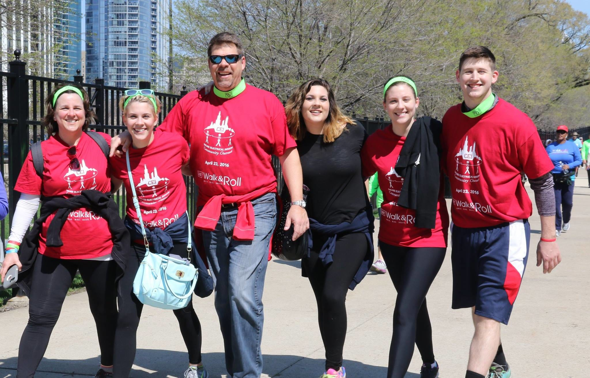 Friends walking together at the American Cancer Society Walk and Roll in Chicago