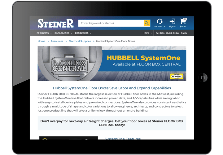Hubbell SystemOne at Floor Box Central