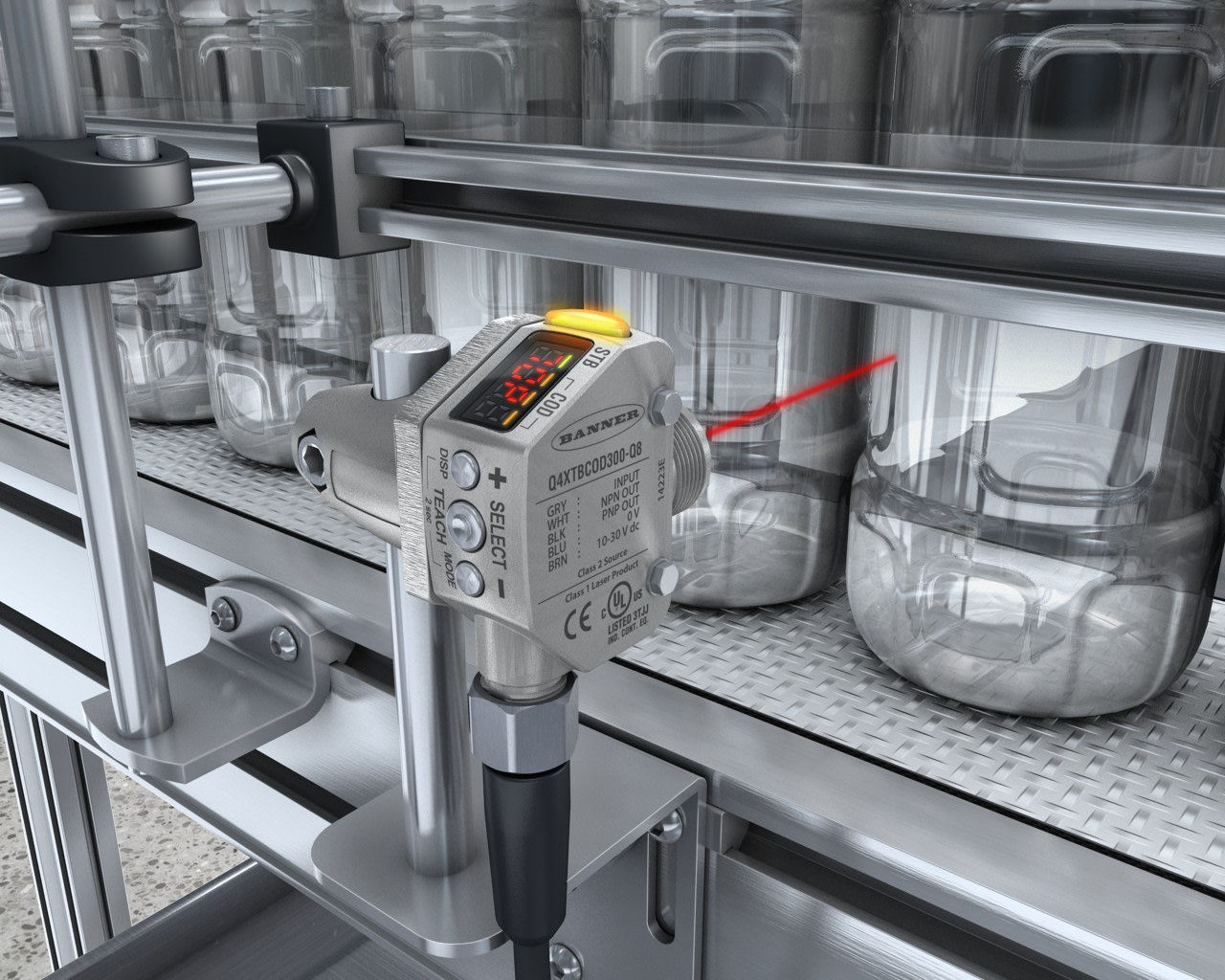 Detecting Clear Glass and Plastic PET Bottles in Washdown Environment