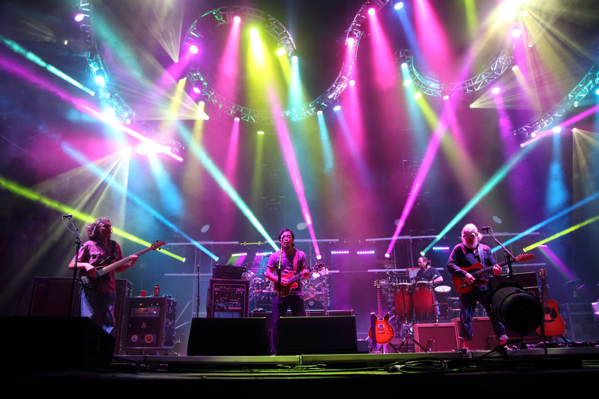 Keith Moseley, Michael Kang, Bill Nershi (L-R) and the String Cheese Incident performs at the 2014 Lock'n Festival on Friday, September 5, 2014, in Arrington, Virginia. (John Davisson/Invision/AP)