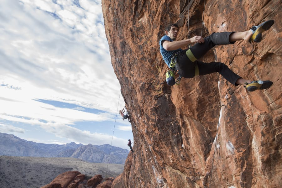Alex Honnold descends The Gallery at Red Rock Canyon on Dec. 17, 2018, in Las Vegas. Honnold, arguably the best rock climber in the world, solo climbed El Capitan, a 3,000-foot granite wall in Yosemite National Park in 2017. (Benjamin Hager / Las Vegas Review-Journal)