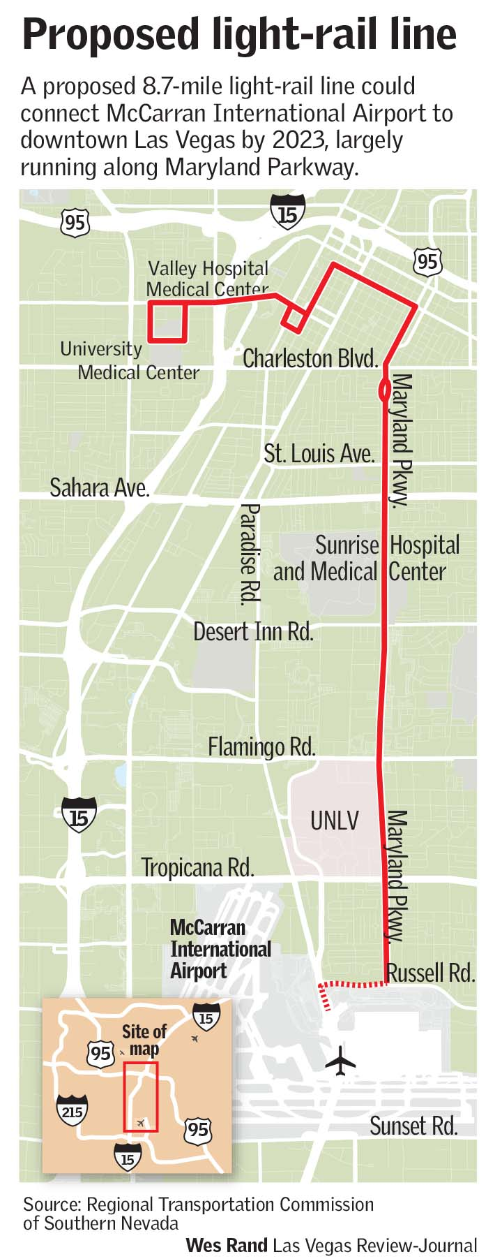 Proposed light rail route Maryland Parkway Las Vegas
