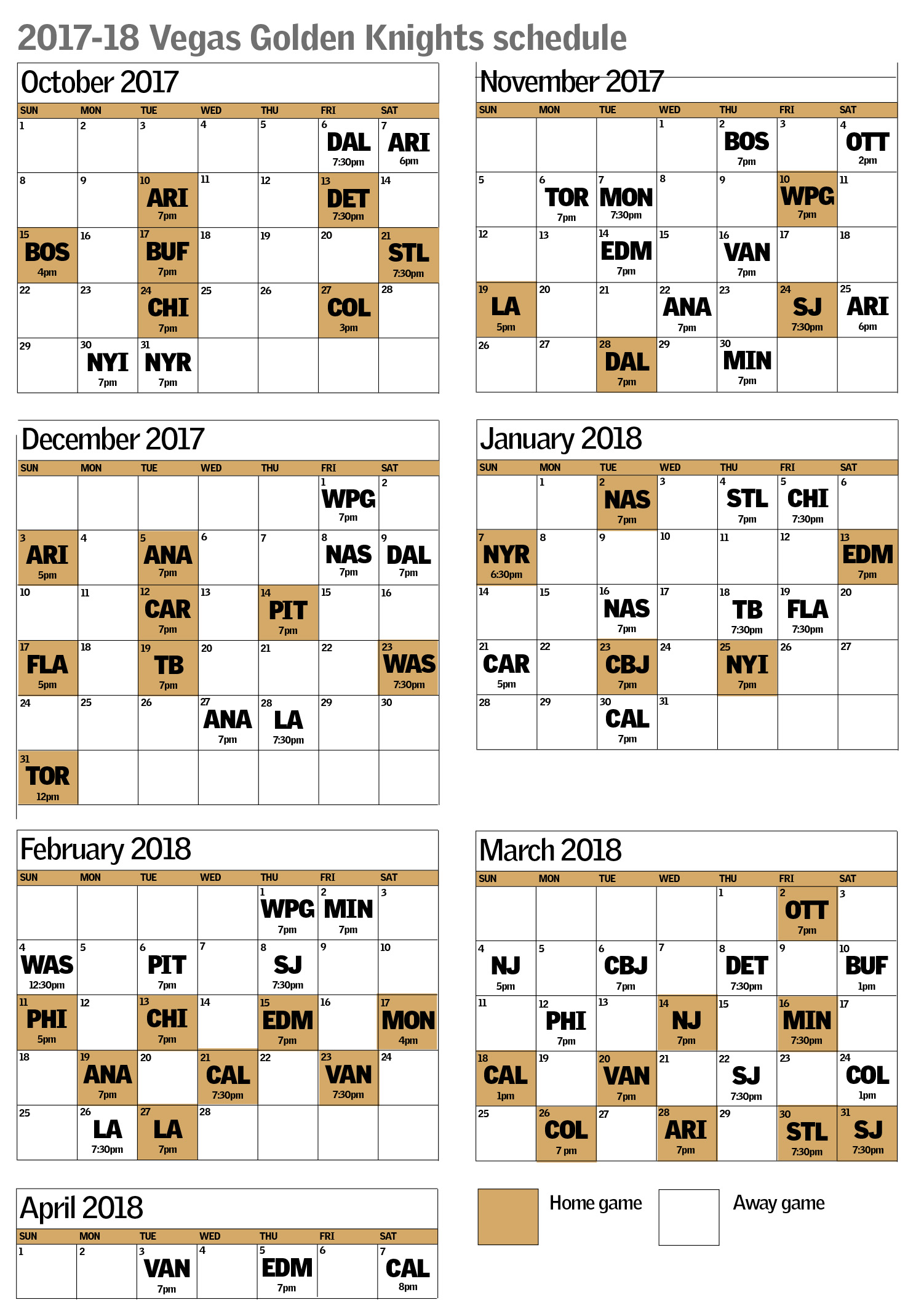 Vegas Golden Knights schedule includes early 7-game homestand  cab4ae7fb
