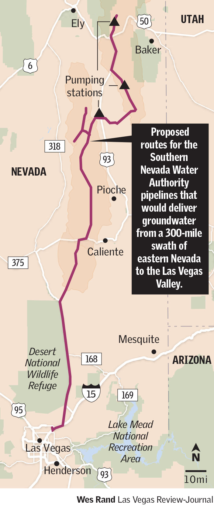 Water routes in eastern Nevada(Las Vegas Review-Journal)